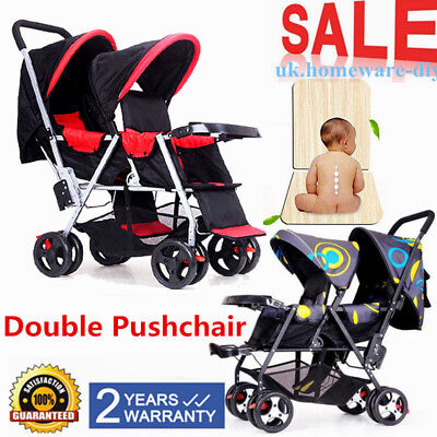 Double Baby Stroller Twin Pushchair Baby Pram Travel System Buggy Infant Kids