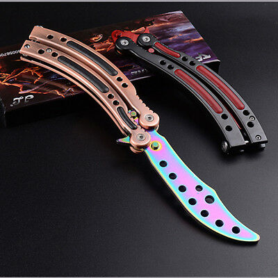 CSGO SLAUGHTER Practice Knife Balisong Butterfly Tactical Combat Trainer RAINBOW