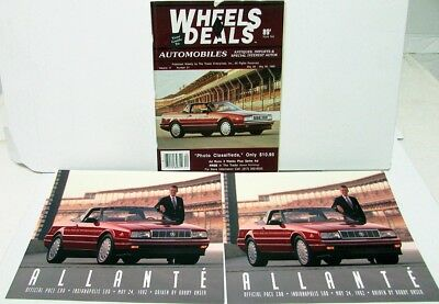 1992-93 Cadillac Allante Indy 500 Pace Car Cover of Wheels & Deals Mag W/2 Cards