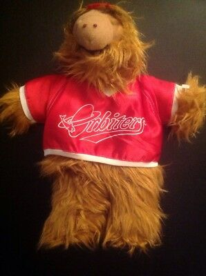 "VINTAGE 1988 ALF ALIEN 11"" PLUSH HAND PUPPET TOY w/RED ORBITERS BASEBALL JERSEY"