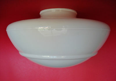 """Salvaged Antique School House Ceiling Light Milk Glass Shade Globe w/ 4"""" Fitter"""