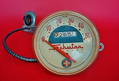 Vintage SCHWINN Bicycle Speedometer with Cable FOR PARTS or REPAIR