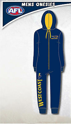 West Coast Eagles AFL Mens Adult Navy Printed Hooded Onepiece Pyjama Size S New