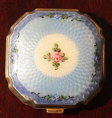 Antique Guilloche Enamel Ladies Compact W/ Two Puffs