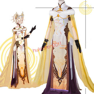 Overwatch OW Mercy Cheongsam Qipao Dress Cosplay Costume Suit Dresses Full Set