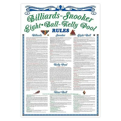 AUSTRALIAN TABLE RULES Poster WALL CHART Billiards -Snooker -Pool -9 ball -kelly