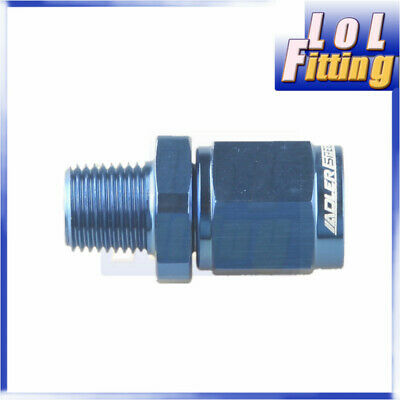 """Straight AN-4 AN4 Female Swivel to 1/8"""" NPT Male  Aluminum Adapter Fitting Blue"""