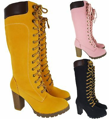 Ladies Womens High Chunky Heel Combat Army Lace Up Biker Knee High Boots Size