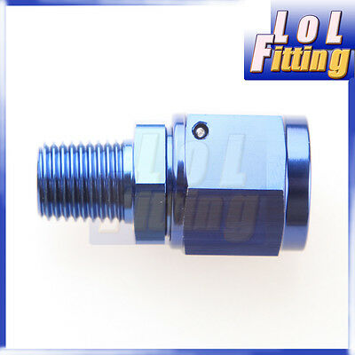 """Straight AN8 AN-8 Female Swivel to 1/4"""" NPT Male Adapter Aluminum Fitting Blue"""