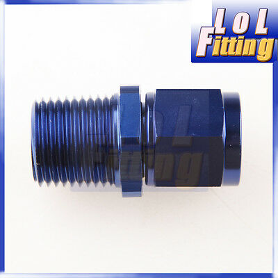 "Straight AN8 AN-8 Female Swivel to Male 1/2"" NPT Aluminum Adapter Fitting Blue"