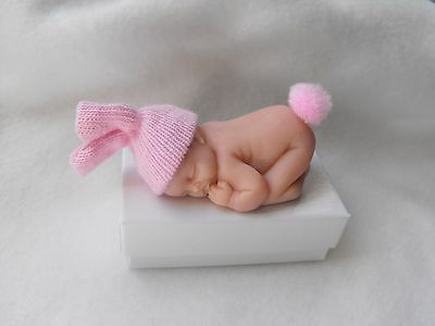 OOAK miniature  PINK BUNNY BABY DOLL /5cm polymer  clay   by HARRY