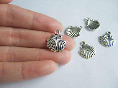 20pcs Antique Silver Seashell Shell Scallop Beach Nautical Charms Pendants Beads