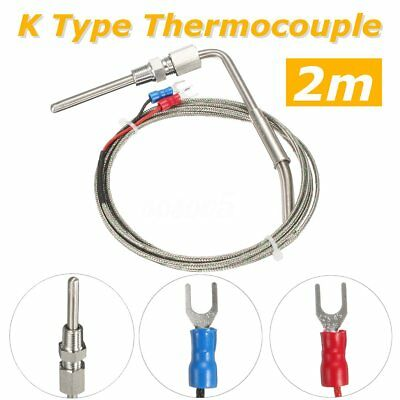 2M K Type Thermocouple Exhaust Probe High Temperature Sensors Threads 0–1100°C