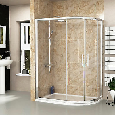 Right Entry Double Door Offset Quadrant Walk In Shower Enclosures + Acrylic Tray
