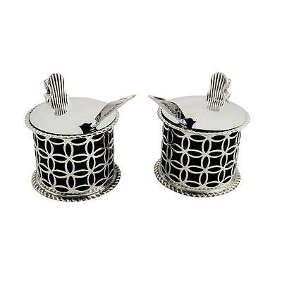 Pair Of Antique Victorian Sterling Silver Mustards - 1897