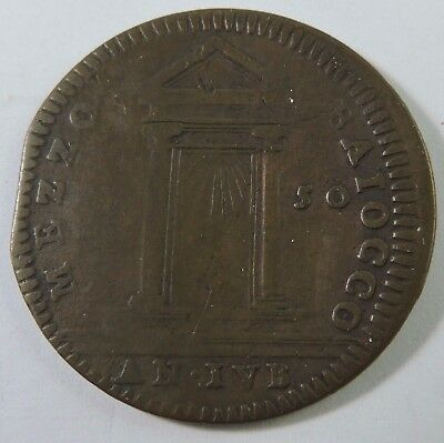 Papal States 1750 1/2 Baiocco Copper Coin