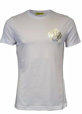 Bnwt Versace Jeans Vj Chest Logo Diamond Tiger T-Shirt White Silver Top  Slim Fit c5b419dba82