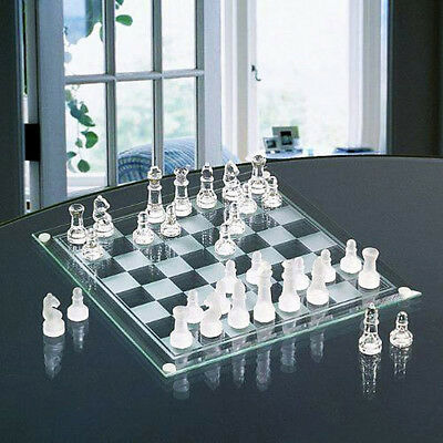 Deluxe Glass Chess Game Set Board Strategy Piece Fun Party Family Adult Drinking
