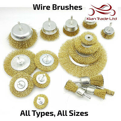 Wirebrush Various Size Wire Brushes Disc Cup Wheel Steel Brass Plated Polisher