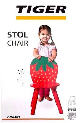 NEW 2x Tiger Chidrens Strawberry Wooden Chairs / Stools 27cm Furniture Playrooms