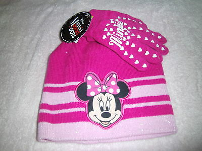 "New ""minnie"" Girls Toddler Stocking Hat And Glove Set (One Size Fits All)"