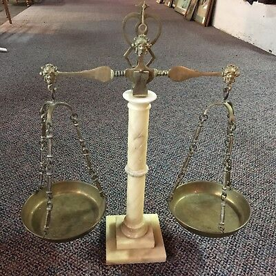 Vintage Ivory Color Marble Pillar Brass Balance Scale of Justice Decor Art