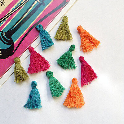 10 Moroccan Tassels 25mm short cotton tassles for jewellery making & boho crafts