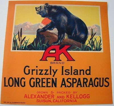 A K Vintage Grizzly Island Asparagus Crate Label *An Original Crate Label*, Bear