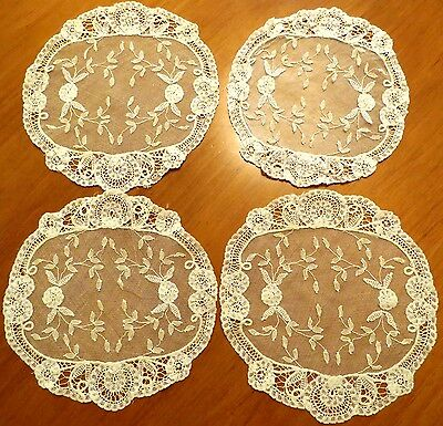 4 Antique Princess Lace Doilies Vintage Table Cocktail Coasters Net Flowers Leaf