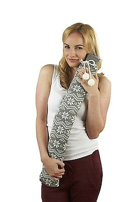 Extra Long PVC Hot Water Bottle Grey & White Nordic Knitted Cover Xmas Gift Box