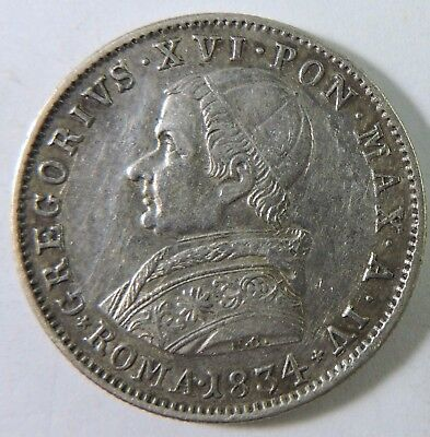 Papal States 1834 20 Baiocchi Silver Coin