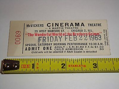Wonderful World of the Brothers Grimm 1963 TICKET McVickers Cinerama Theatre USA