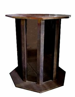 Mastercraft brass and glass 8 sided faceted pedestal base table MCM Art Deco