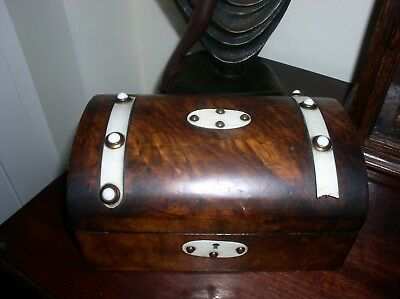 Vintage wooden chest with key