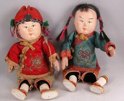 VINTAGE ASIAN CHINESE DOLLS BOY and GIRL COMPOSITION 7""