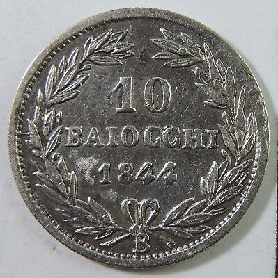 Papal States 1844 10 Baiocchi Silver Coin