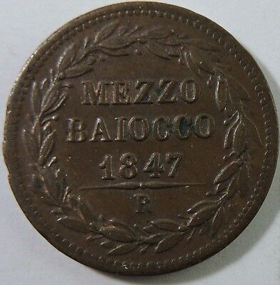 Papal States 1847-R 1/2 Baiocco Copper Coin