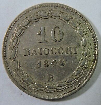Papal States 1848-B 10 Baiocchi Silver Coin