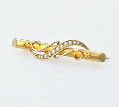 Old antique 15ct gold pearl bar brooch