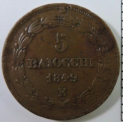 Papal States 1849-R 5 Baiocchi Copper Coin