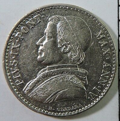 Papal States 1849-R 20 Baiocchi Silver Coin