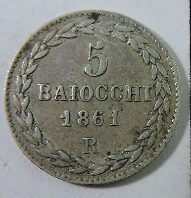 Papal States 1861-R 5 Baiocchi Silver Coin