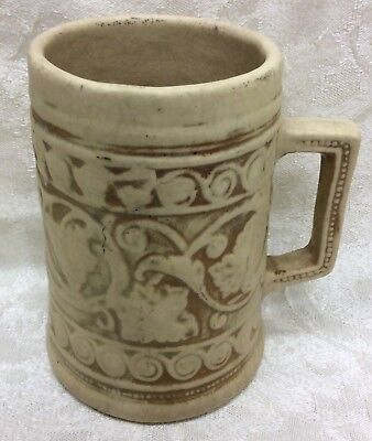 Antique Pre 1916 Pottery Stein, Stylized Leaves and Scroll