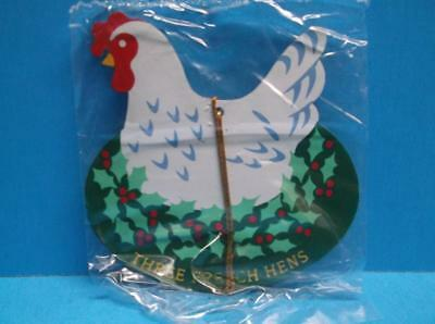 Avon 12 Days of Christmas Metal Ornament THREE FRENCH HENS 2-Sided Twelve NWOB
