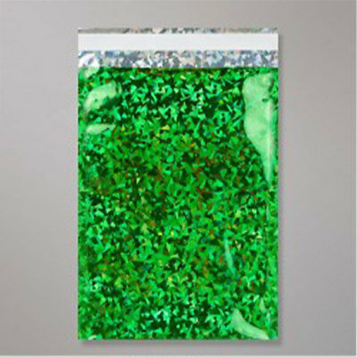"""500 Metallic Green Holographic Foil Mailing Bags 12.5"""" x 17.75"""""""