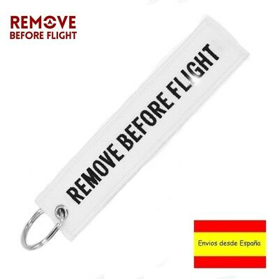 Llavero REMOVE BEFORE FLIGHT Avión A380 777 Airbus Boeing Maletas Llaves Blanco