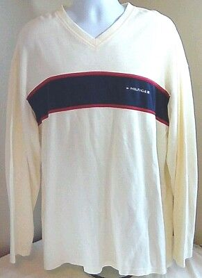 Vtg Tommy Hilfiger Mens Ivory Cream w Blue Red Box Tag Spellout XL V-Neck Shirt