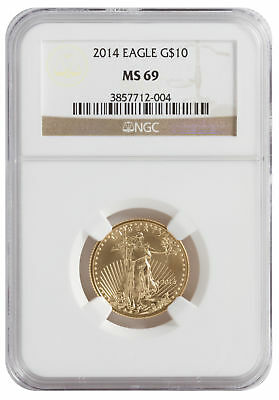 2014 - $10 1/4oz Gold American Eagle MS69 NGC Brown Label