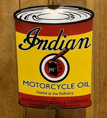 Indian Motorcycle Porcelain Sign Gas Oil Service Station Vintage Advertising