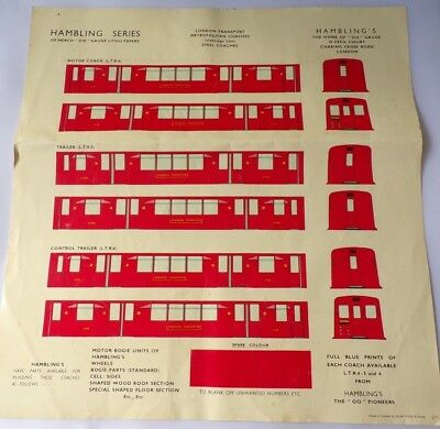 Hambling Series OO Gauge Litho Papers London Transport Underground Tube Coaches